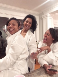 Ashley, myself, Rasheeda laughing at somebody's son!